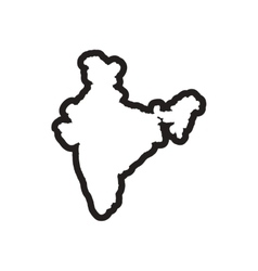 Stylish black and white icon map of india vector