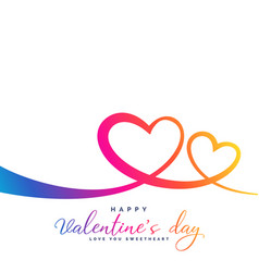 stylish colorful vibrant two hearts for vector image