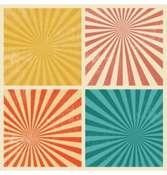 Sunburst Retro Textured Grunge Background Set vector image