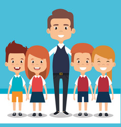 Teacher school with children avatar character vector