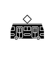 tramway black icon sign on isolated vector image