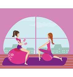 Two girls exercising with Pilates fit balls vector
