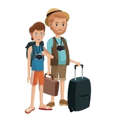 Two men young senior tourist traveling vector