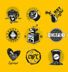 vintage coffee emblem cafe icon set retro vector image