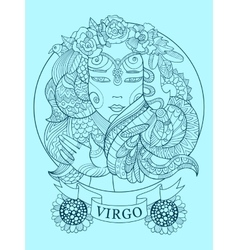 Virgo zodiac sign coloring book for adults vector image
