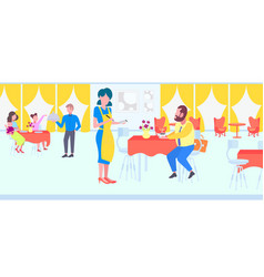 waiters serving and taking orders from clients in vector image