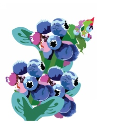 Watercolor blueberry branch vector