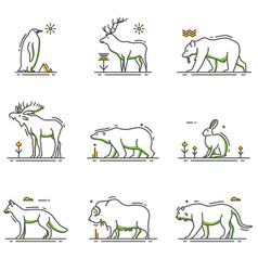 Winter animals cartoon in outline set vector