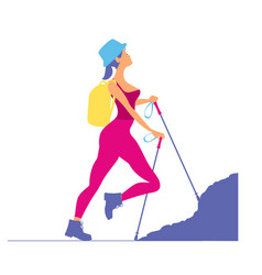 woman traveling in the mountainstourist rock vector image