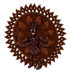 wooden figurine with the indian hindu goddess kali vector image