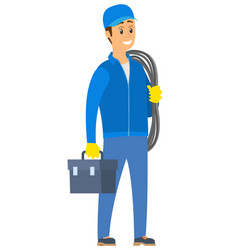 Worker holding rope and handbag electric vector