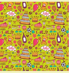 birthday background on green vector image vector image