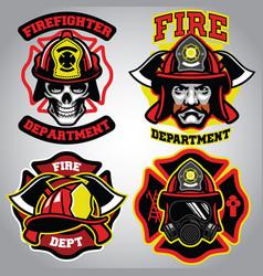 firefighter badge set vector image vector image