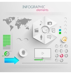 set of abstract 3d paper infographic elements for vector image vector image