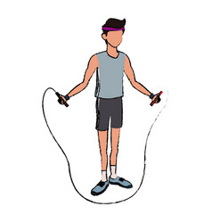 Sport man jump rope fitness active lifestyle line vector