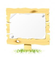 wooden billboard with blank paper vector image vector image