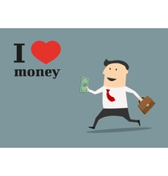 Businessman running with money and briefcase vector image vector image