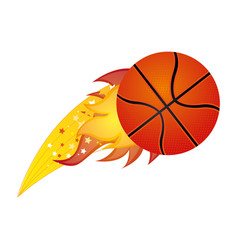 colorful olympic flame with basketball ball vector image