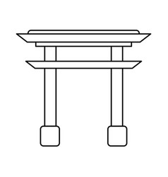 Gate japanese monument outline vector