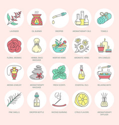 modern line icons of aromatherapy and vector image