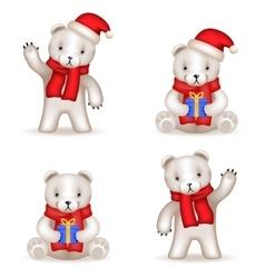 Teddy Bear cub new year Realistic 3d icons set vector image