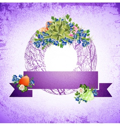 Vintage Easter Decorative Wreath vector image