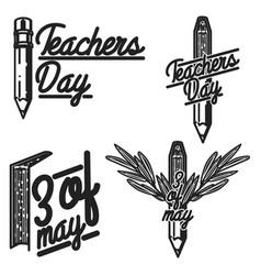 vintage teachers day emblems vector image