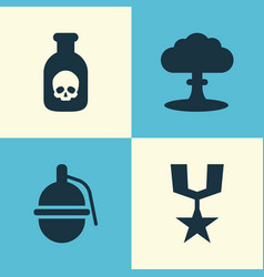 warfare icons set collection of order danger vector image vector image