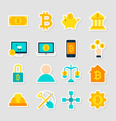 Cryptocurrency bitcoin stickers vector