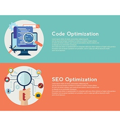 Flat computing background Code and SEO vector image vector image