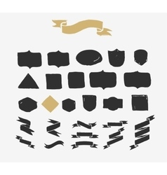 Hand drawn ribbons icons and elements vector image vector image