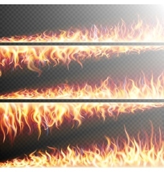 Set of Fire flames on transparent EPS 10 vector image vector image