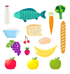 set of healthy food products fish and dairy vector image