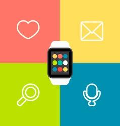Smart watch flat vector
