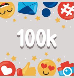 100k followers icons vector