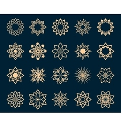 Abstract lotus geometric symbols vector