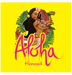 Aloha hawaii girl dancing hula background i vector