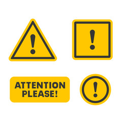 Attention sign set on white background vector
