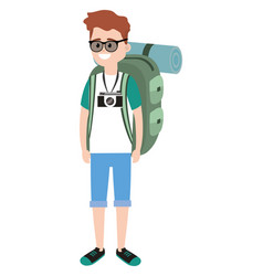 Backpacker tourist man vector