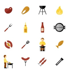 Bbq grill icon flat vector