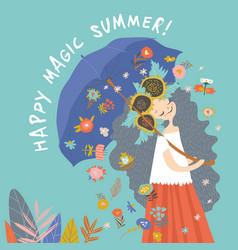 Beautiful girl with umbrella hello happy summer vector