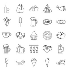 Binge icons set outline style vector