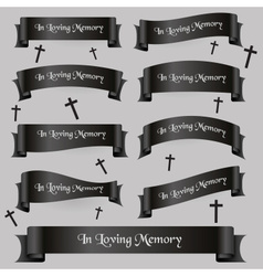 Black funeral ribbon banners set with text eps10 vector