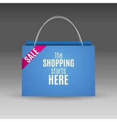 Blue shopping paper bag vector image