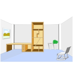 Bookcase and desk 3d in empty room vector