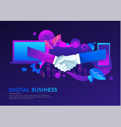 business people hand shake virtual meeting digital vector image