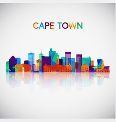 cape town skyline silhouette vector image