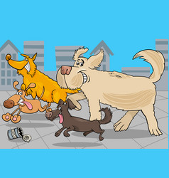 cartoon running dogs animal characters vector image