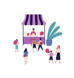 cartoon seller street cotton candy kiosk vector image