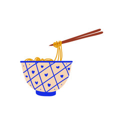 Ceramic bowl noodles soup with chopsticks vector